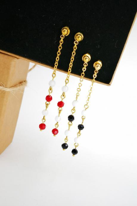 Chain Earrings, Chain Earrings Gold, Chain Earrings Beaded, Long Earrings Chain, Gold Earrings
