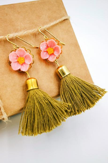 Flower Earrings Tassel, Tassel Earrings, Tassel Earrings Caramel, Boho Earrings Tassel, Tassel Earrings Pink, Tassel Earrings Summer
