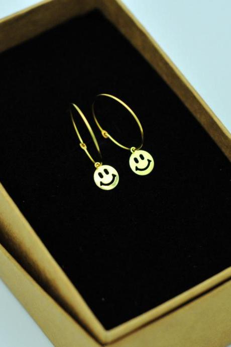 Tiny Smile Face Hoop Earrings/14K Gold Filled Hoops