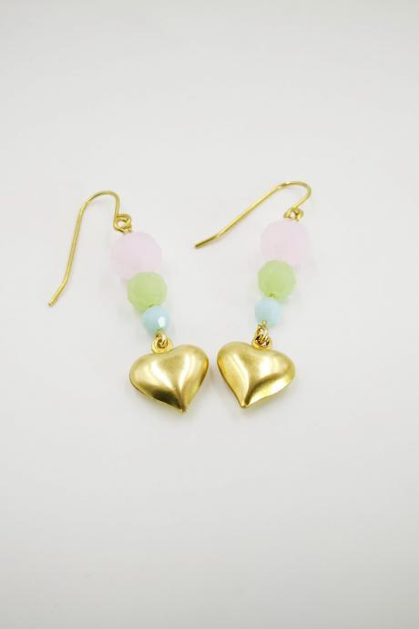 Love shape with beaded Summer Earrings Romance Earrings Beaded Earrings Minimalist Earrings Elegant Earrings