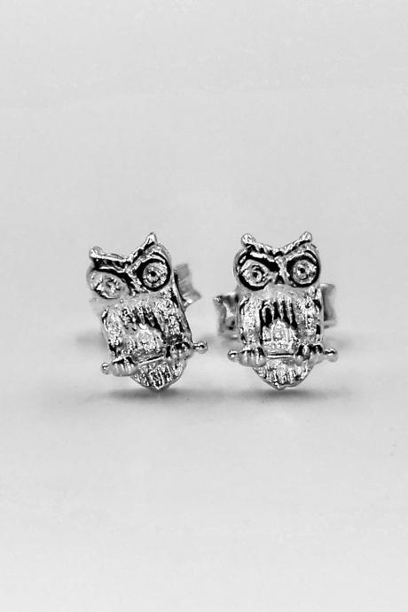 Silver Stud Owl Earrings Bird Earrings Animal Earrings Tiny Earrings Dainty Earrings Jewelry Gift For Her Everyday Earrings