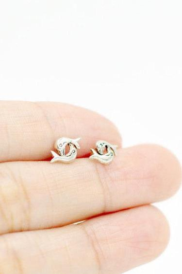 Tiny Dolphin Stud Earrings/Solid 925 Silver/14K Gold Filled