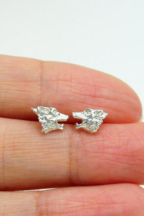 Tiny Wolf Stud Earrings/Solid 925 Silver/14K Gold Filled