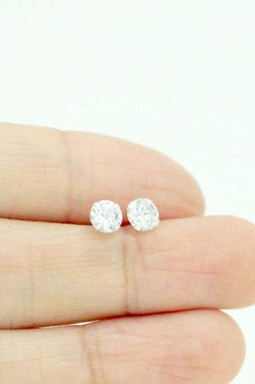 Round Brilliant Diamond Stud Earrings/Solid 925 Silver/14K Gold Filled