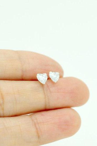 Tiny Love Brilliant Diamond Stud Earrings, Sterling Silver Heart Diamond Stud Earrings, Dainty Heart Sparkly Stud Earrings, Delicate Sweet Love Stud Earrings, Gorgeous Stud Earrings, Everyday Stud Earrings