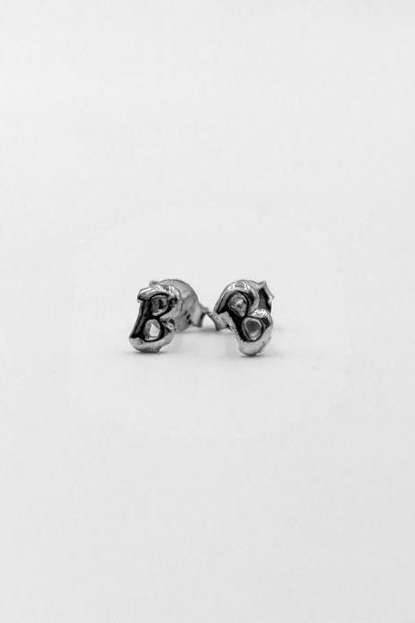 Initial Stud Earrings Made From Sterling Silver For Alphabet B In Tiny Size And Simple Design Suit For Everyday Wear
